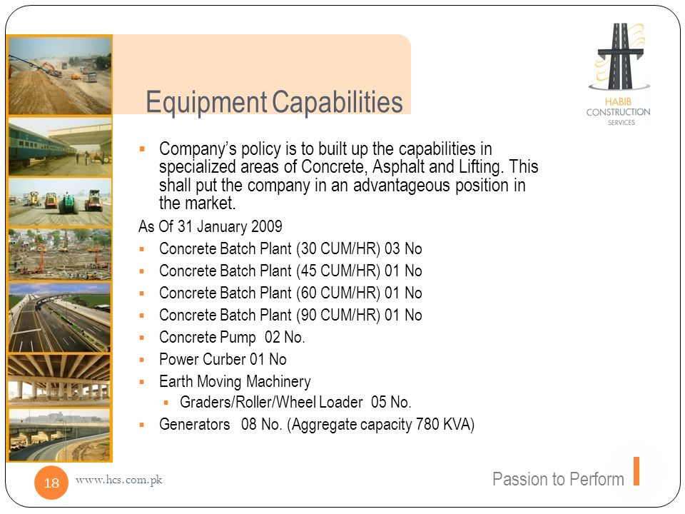 Equipment Capabilities