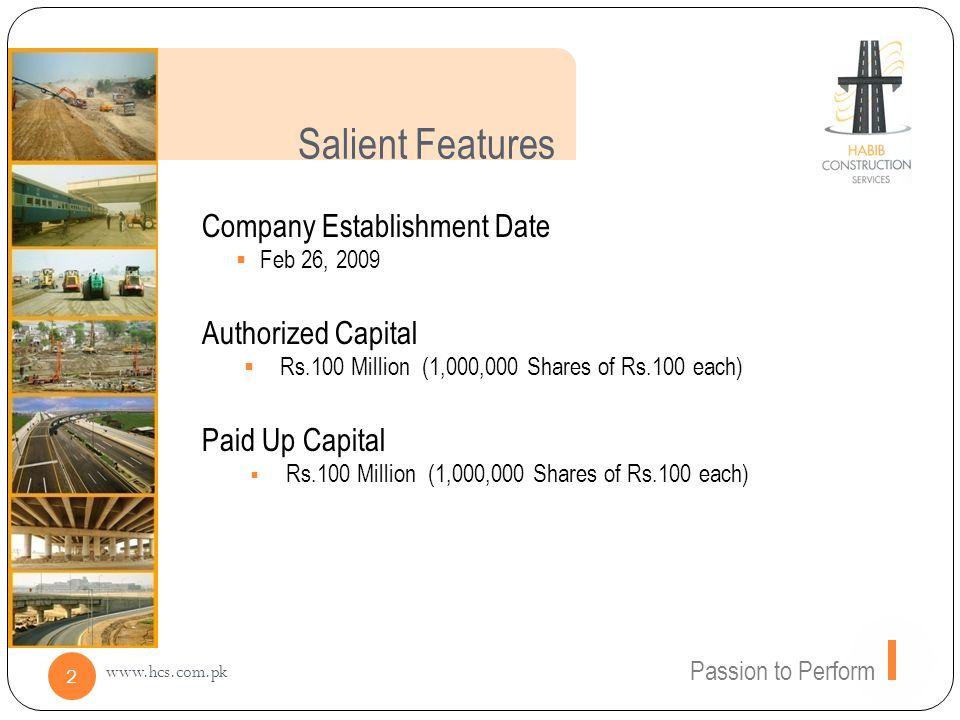 Salient Features Company Establishment Date Authorized Capital