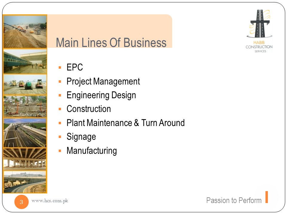 Main Lines Of Business EPC Project Management Engineering Design