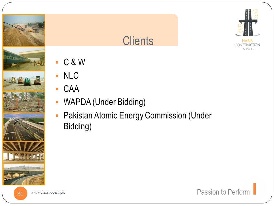 Clients C & W NLC CAA WAPDA (Under Bidding)