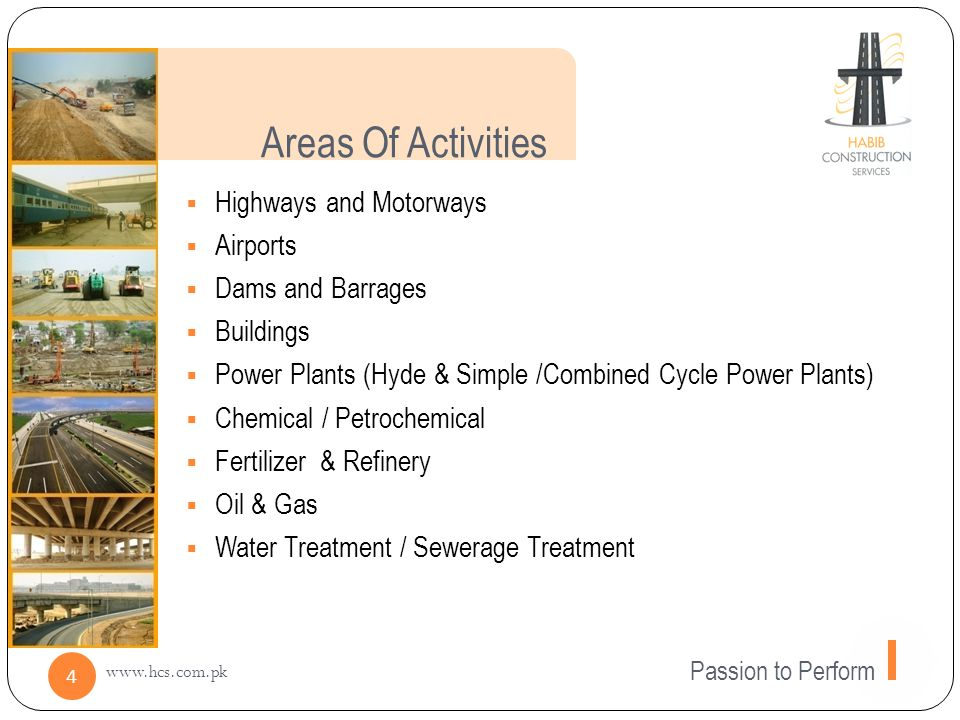 Areas Of Activities Highways and Motorways Airports Dams and Barrages