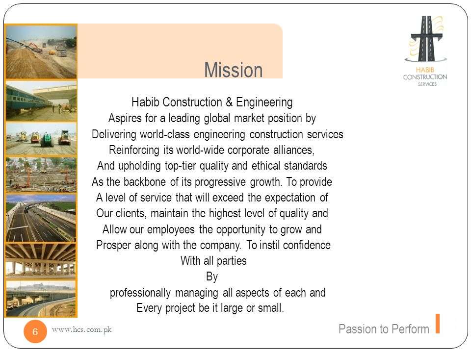 Mission Habib Construction & Engineering Passion to Perform