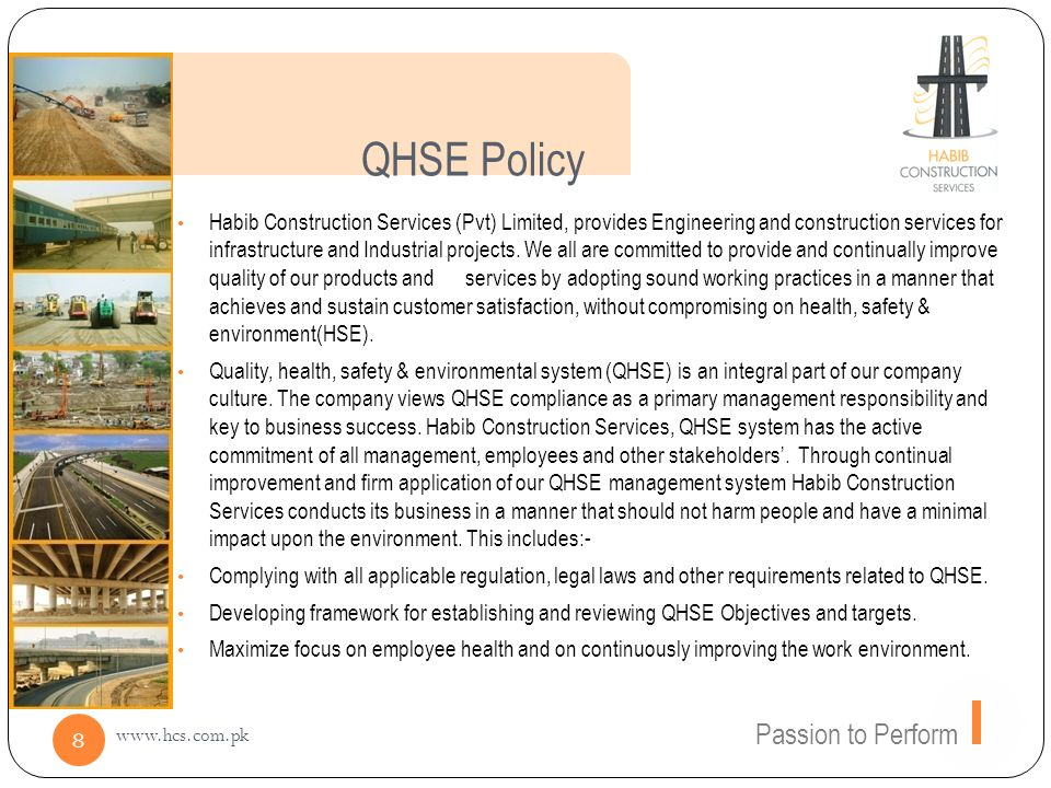 QHSE Policy Passion to Perform