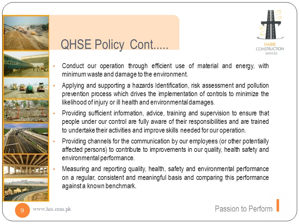 QHSE Policy Cont..... Passion to Perform
