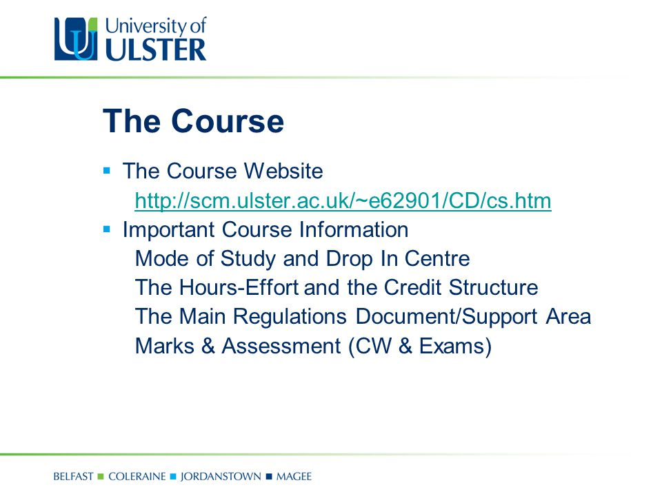 The Course The Course Website