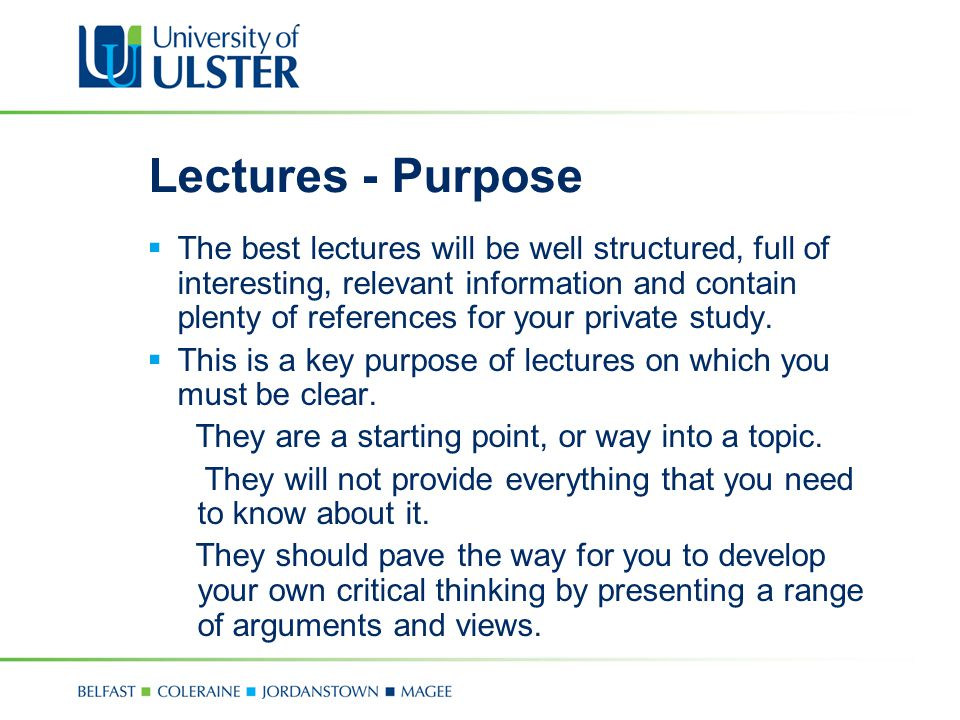 Lectures - Purpose