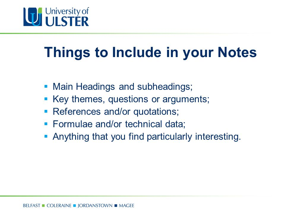 Things to Include in your Notes