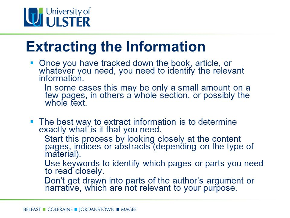 Extracting the Information