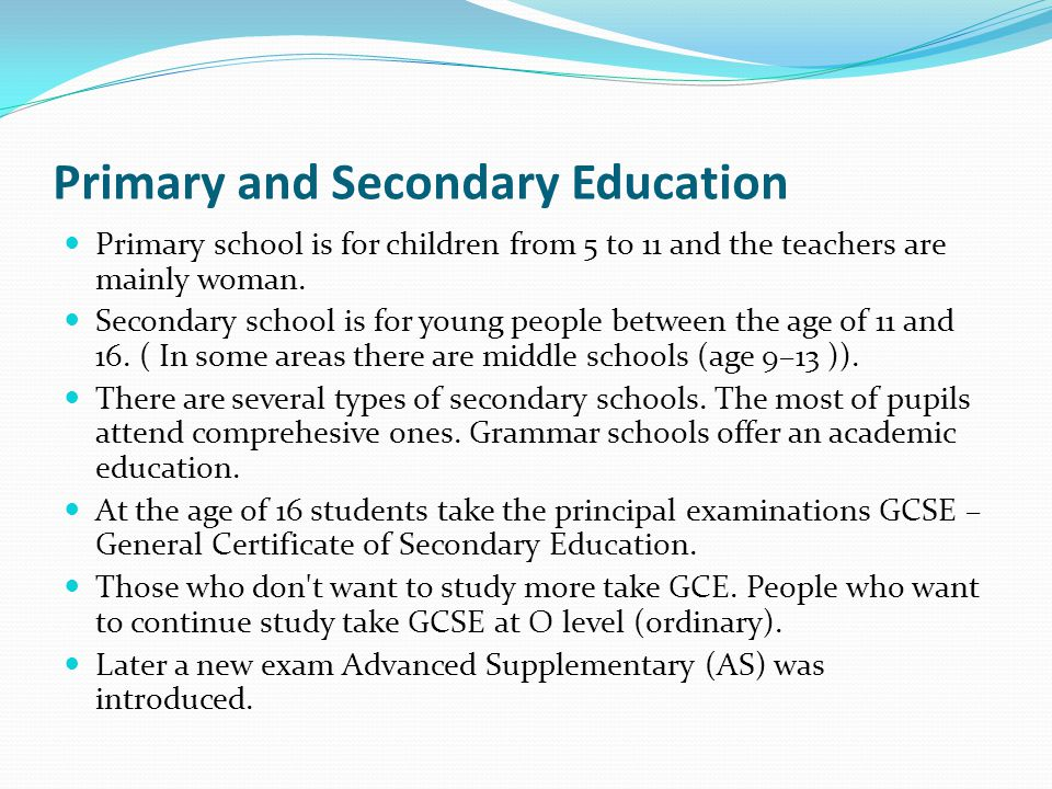 Primary and Secondary Education