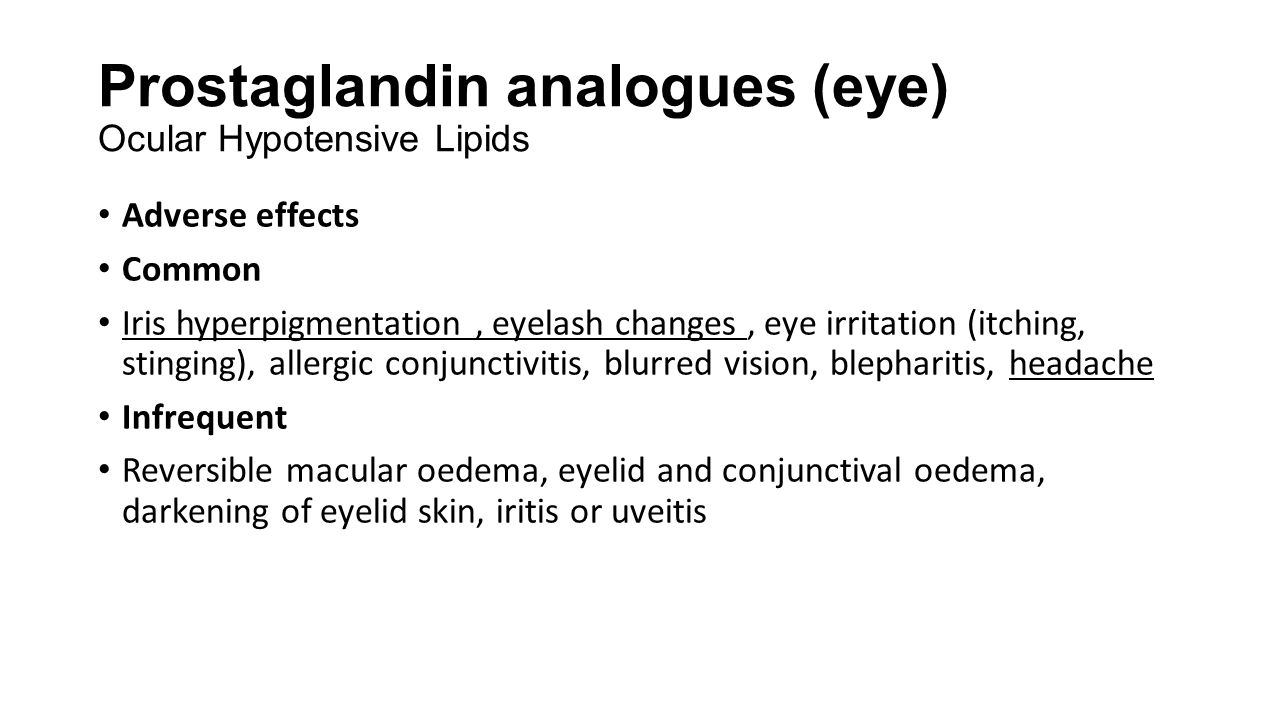 Prostaglandin analogues (eye) Ocular Hypotensive Lipids
