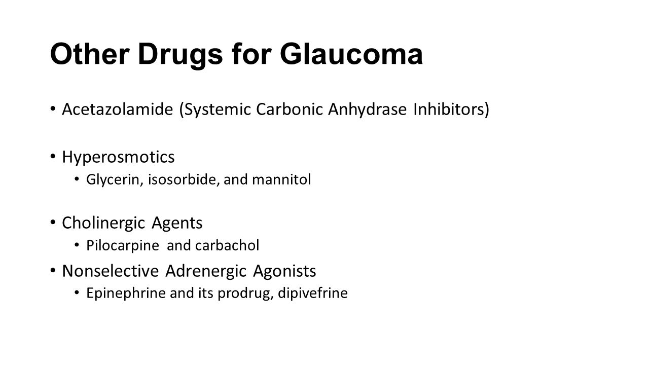 Other Drugs for Glaucoma
