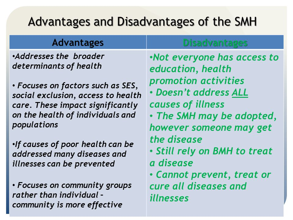 Advantages and Disadvantages of the SMH