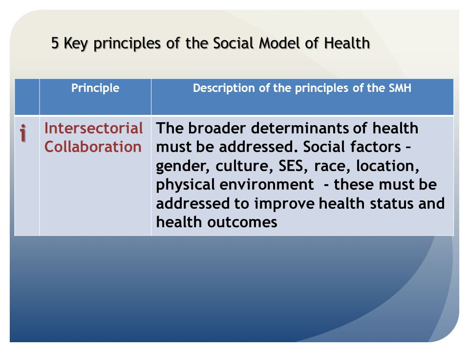Description of the principles of the SMH