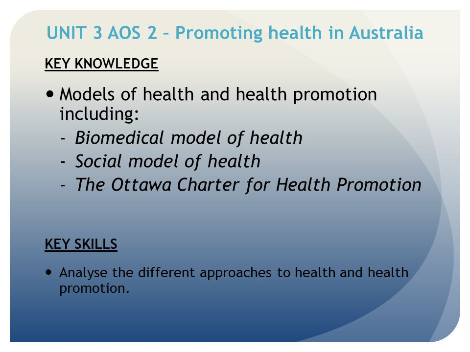 UNIT 3 AOS 2 – Promoting health in Australia