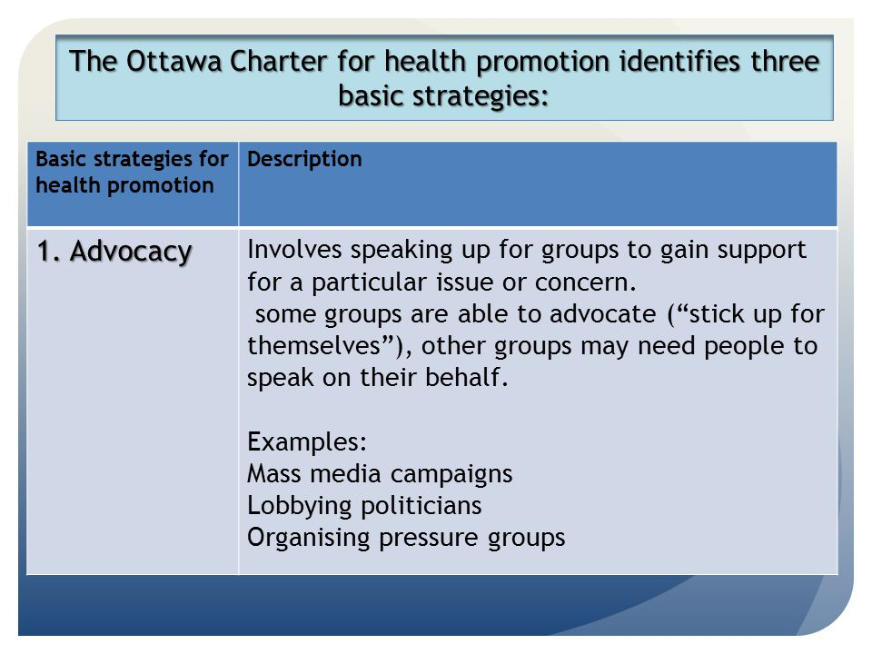 The Ottawa Charter for health promotion identifies three basic strategies: