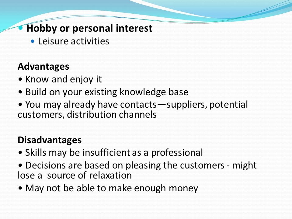 Hobby or personal interest