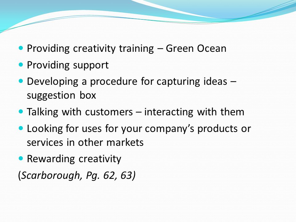 Providing creativity training – Green Ocean