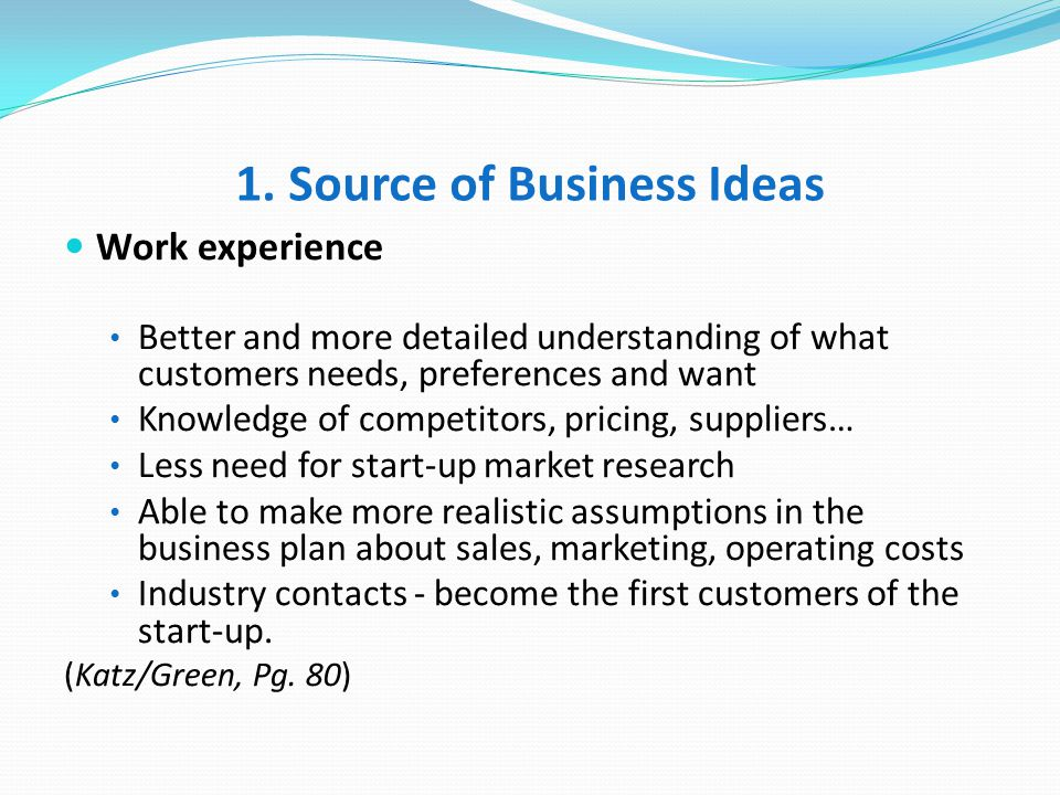 1. Source of Business Ideas