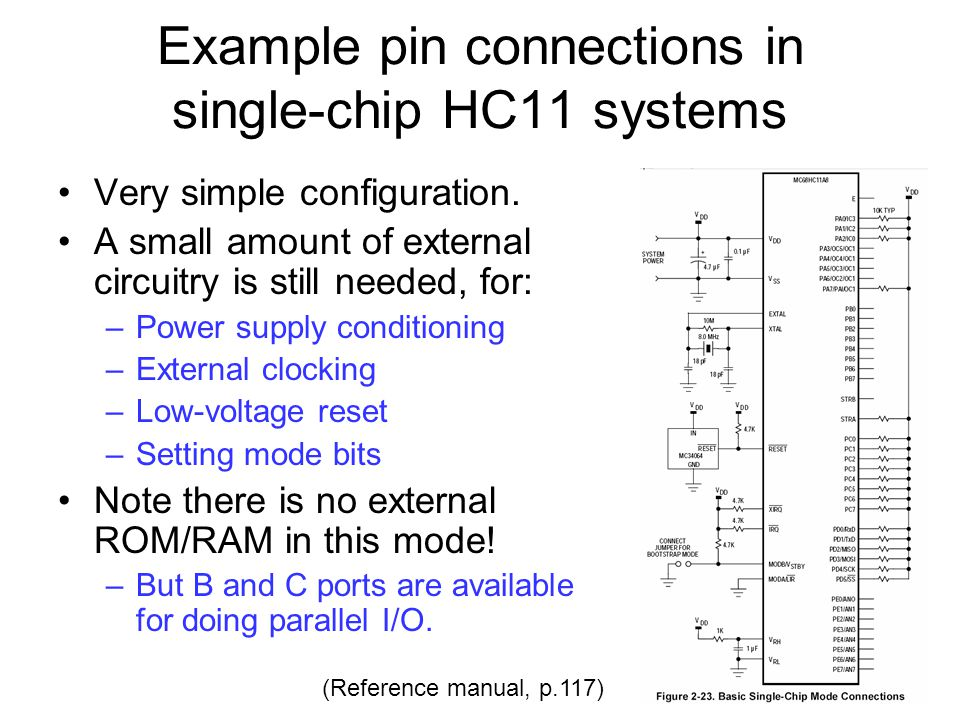 Example pin connections in single-chip HC11 systems
