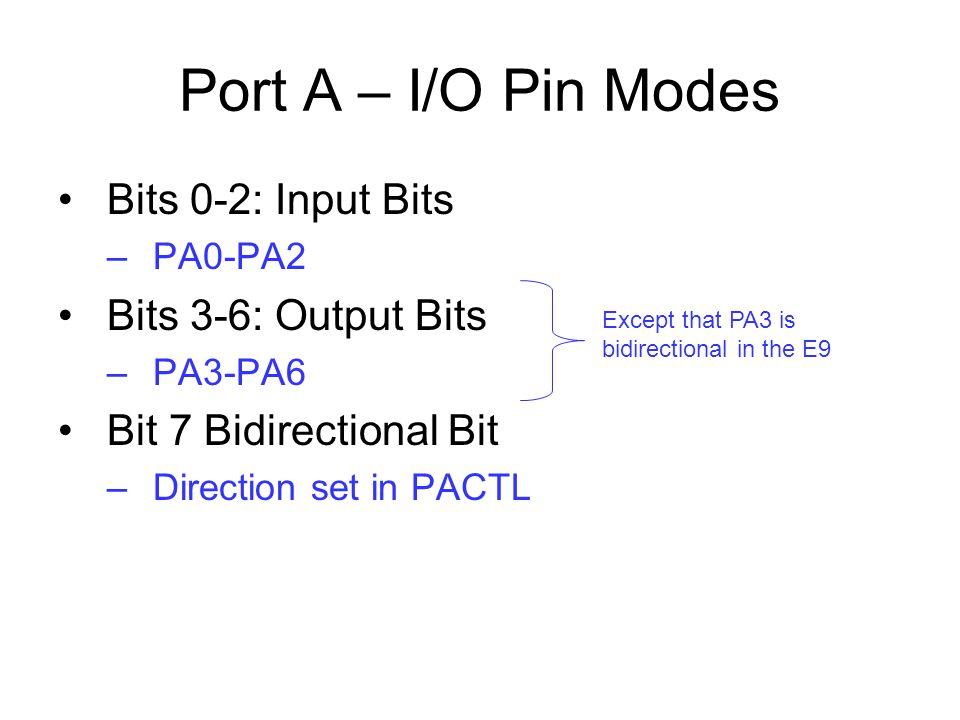 Port A – I/O Pin Modes Bits 0-2: Input Bits Bits 3-6: Output Bits
