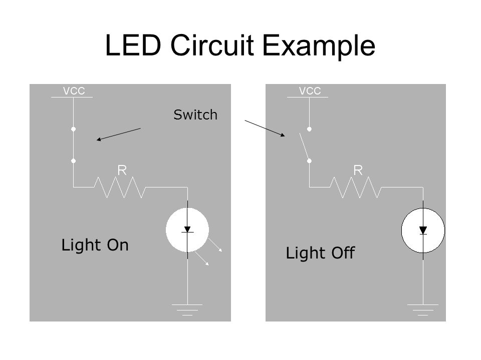LED Circuit Example Switch Light On Light Off