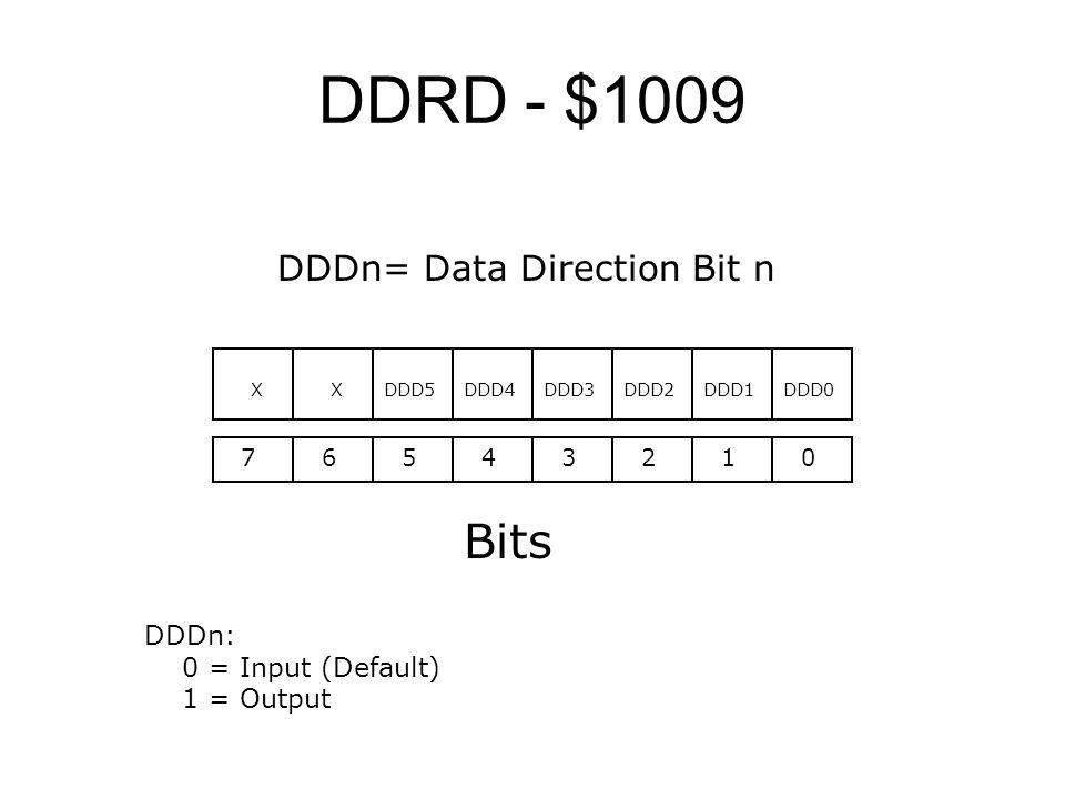 DDRD - $1009 Bits DDDn= Data Direction Bit n DDDn: 0 = Input (Default)