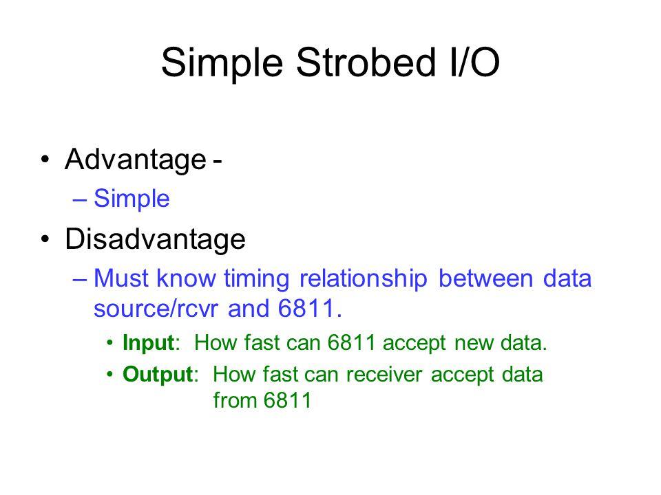 Simple Strobed I/O Advantage - Disadvantage Simple