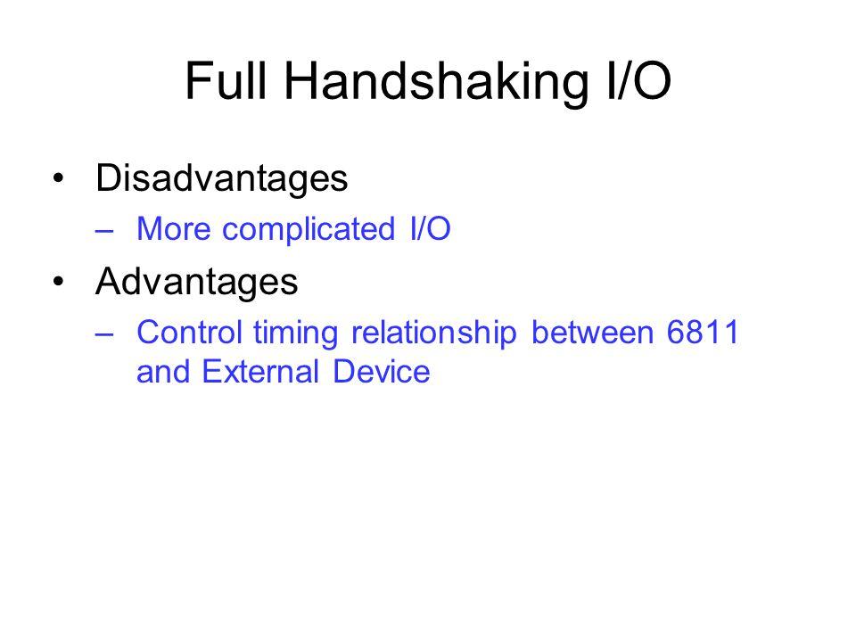 Full Handshaking I/O Disadvantages Advantages More complicated I/O
