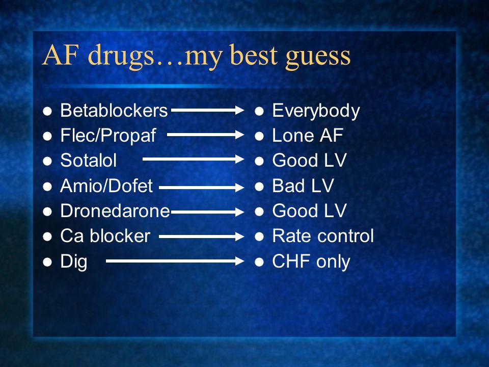 AF drugs…my best guess Betablockers Flec/Propaf Sotalol Amio/Dofet