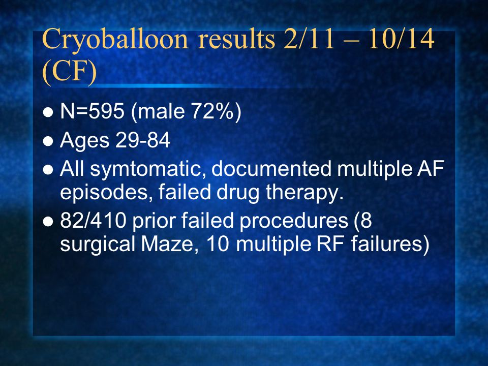 Cryoballoon results 2/11 – 10/14 (CF)