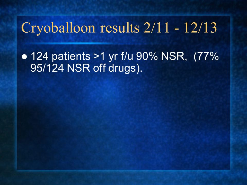 Cryoballoon results 2/11 - 12/13
