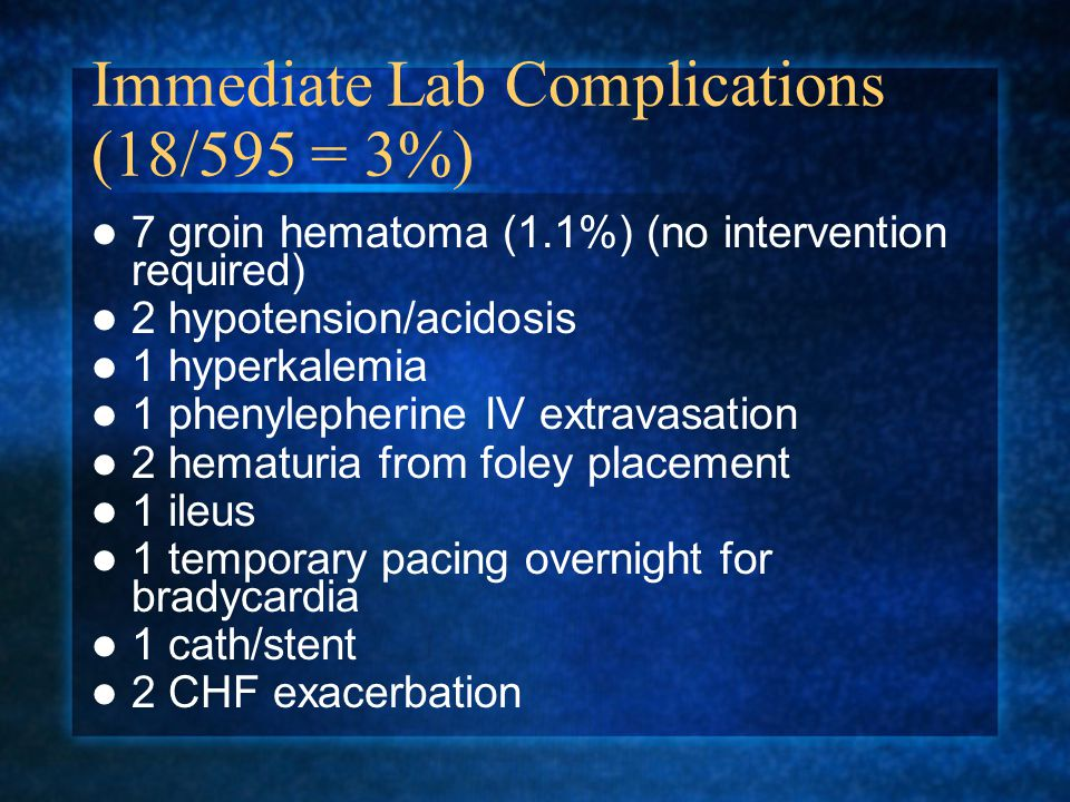Immediate Lab Complications (18/595 = 3%)