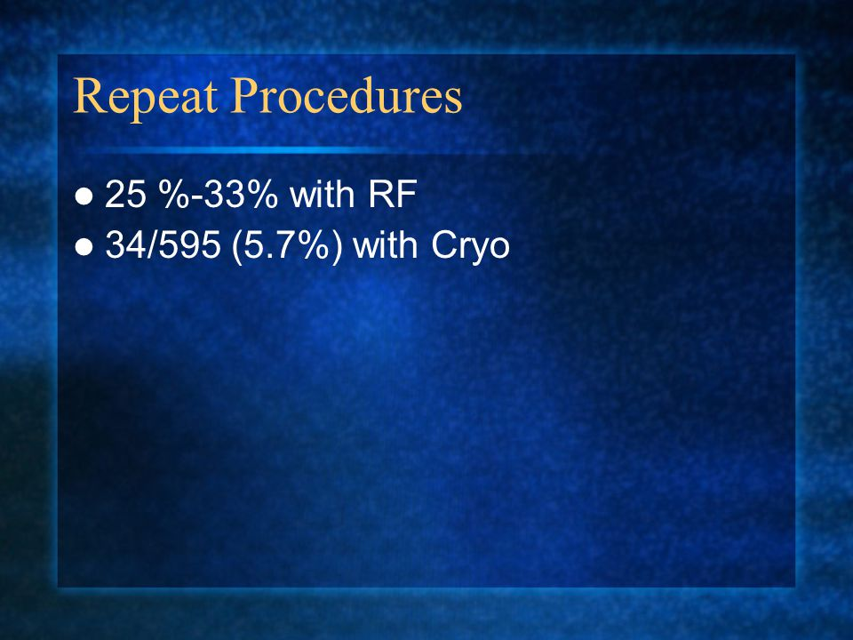 Repeat Procedures 25 %-33% with RF 34/595 (5.7%) with Cryo