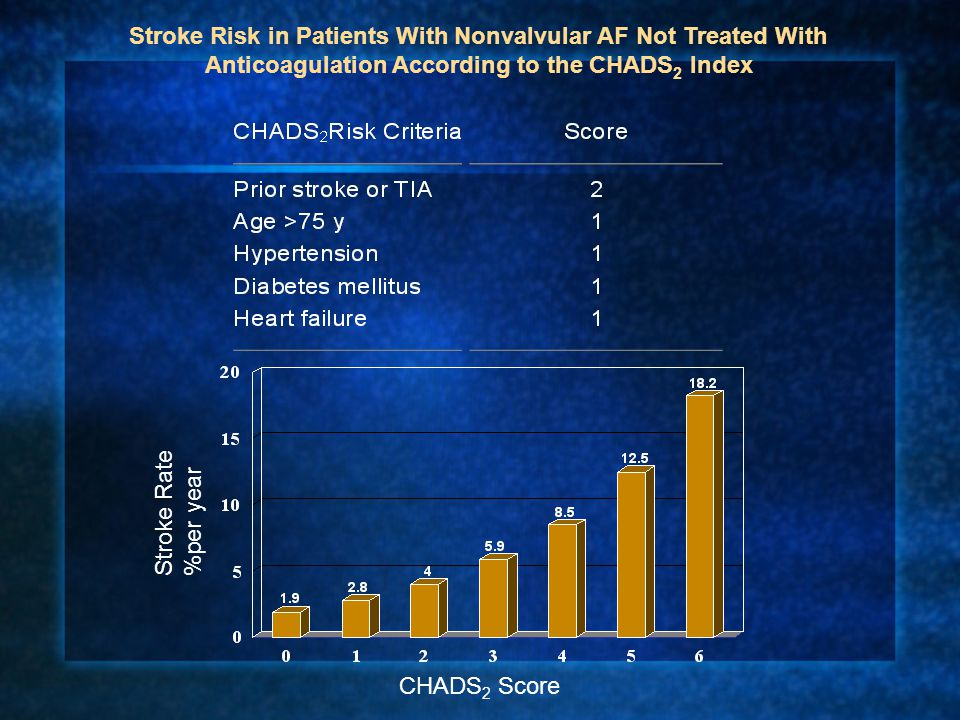 Stroke Risk in Patients With Nonvalvular AF Not Treated With Anticoagulation According to the CHADS2 Index