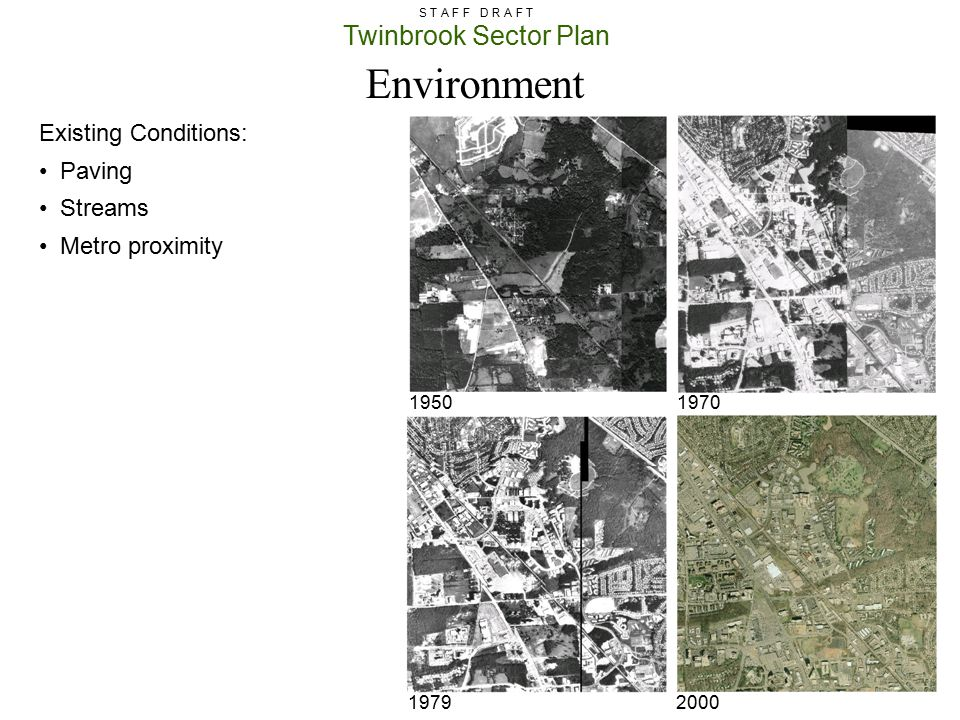 Environment Existing Conditions: Paving Streams Metro proximity 1950