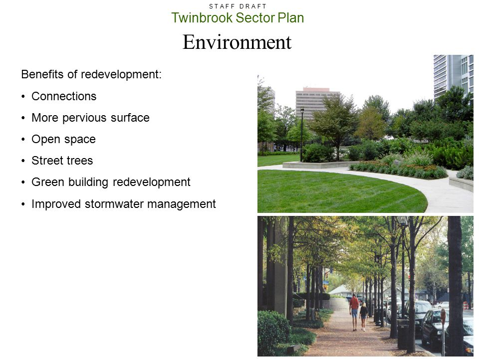Environment Benefits of redevelopment: Connections