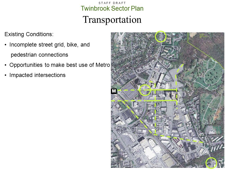 Transportation Existing Conditions: Incomplete street grid, bike, and