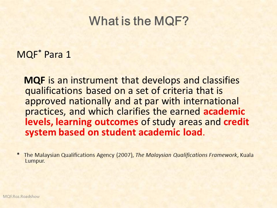 What is the MQF MQF* Para 1