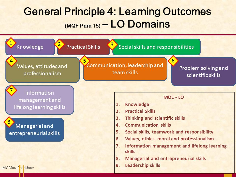 General Principle 4: Learning Outcomes (MQF Para 15) – LO Domains