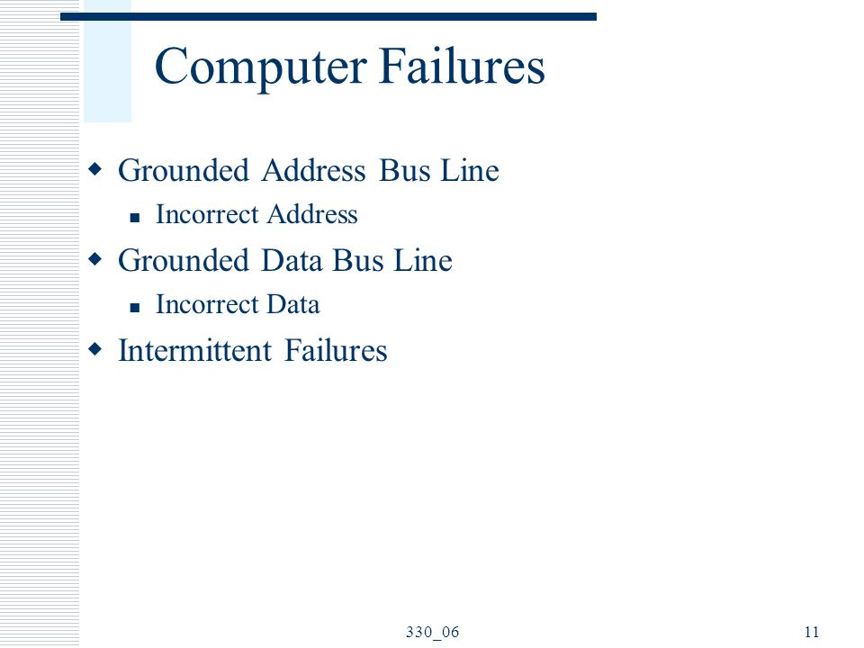 Computer Failures Grounded Address Bus Line Grounded Data Bus Line