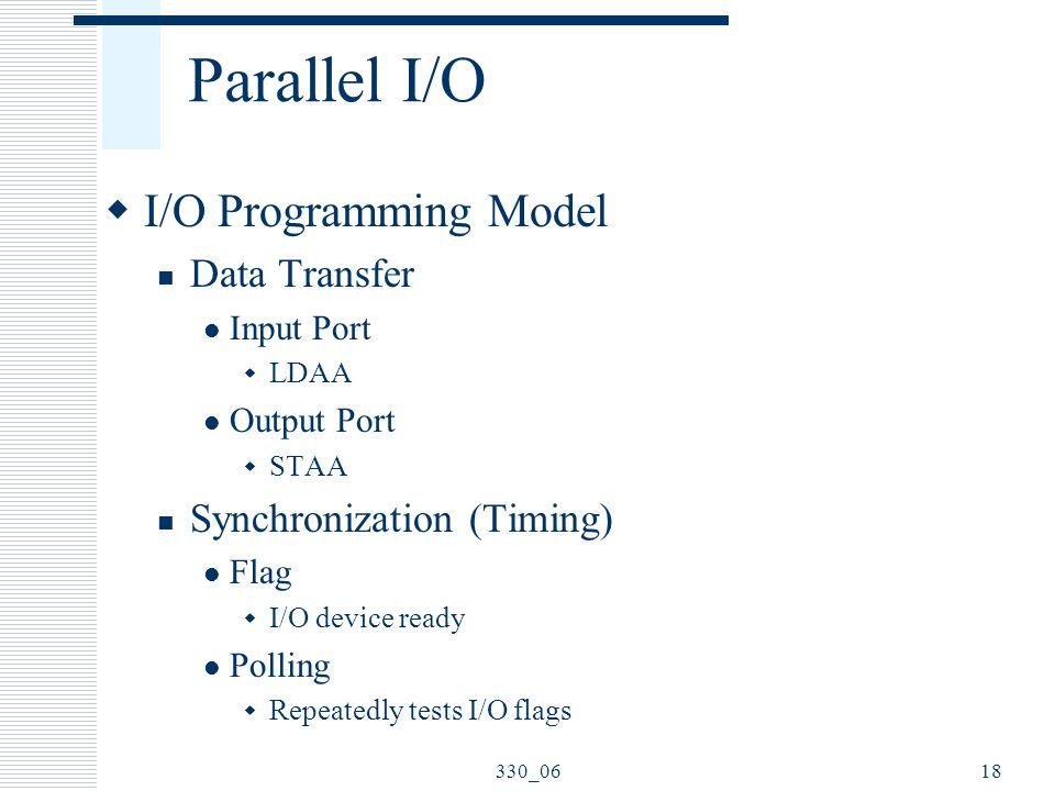 Parallel I/O I/O Programming Model Data Transfer