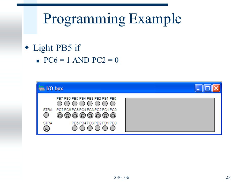 Programming Example Light PB5 if PC6 = 1 AND PC2 = 0 330_06