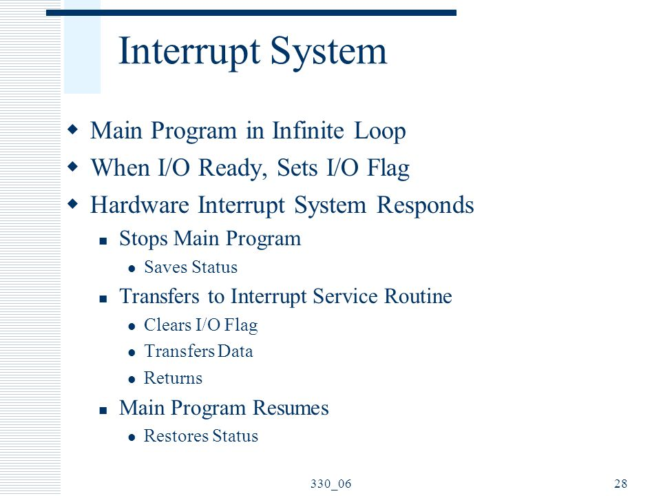 Interrupt System Main Program in Infinite Loop