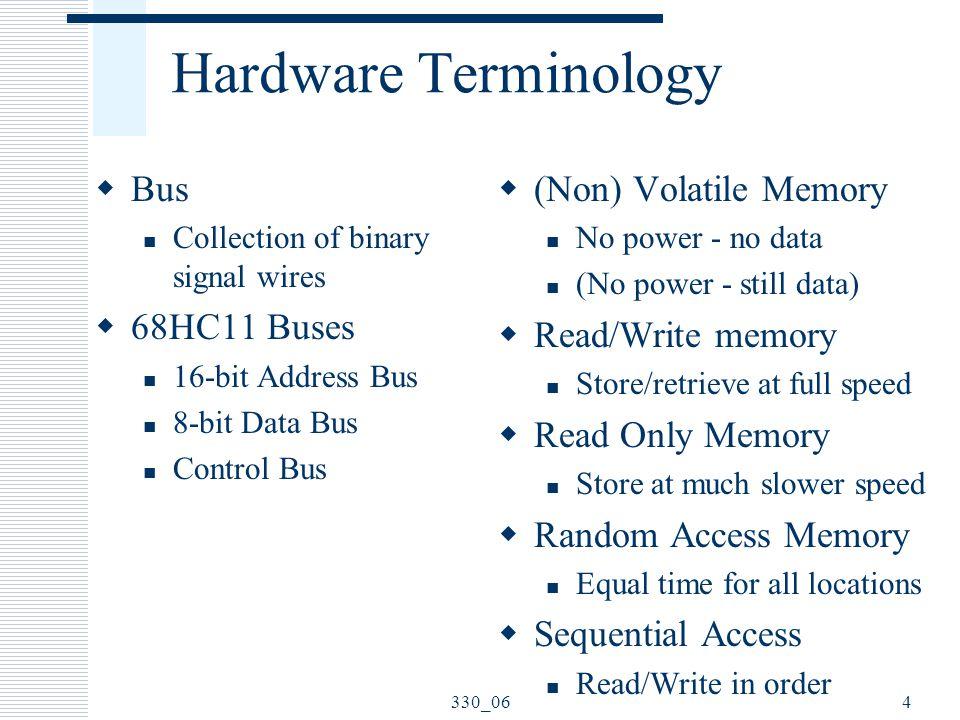 Hardware Terminology Bus 68HC11 Buses (Non) Volatile Memory