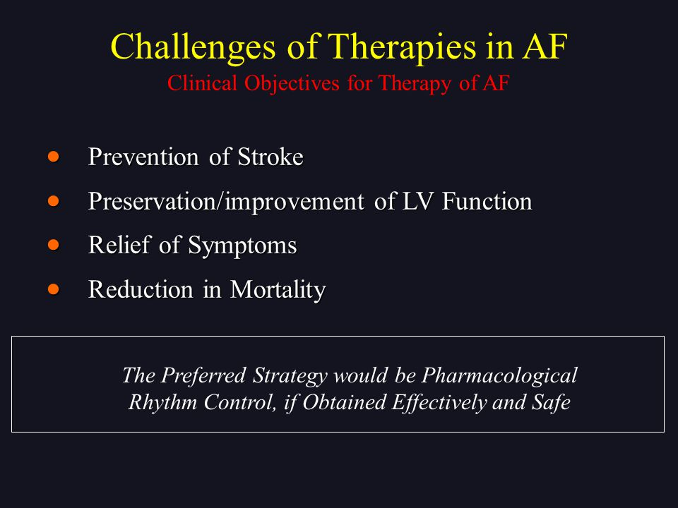 Challenges of Therapies in AF