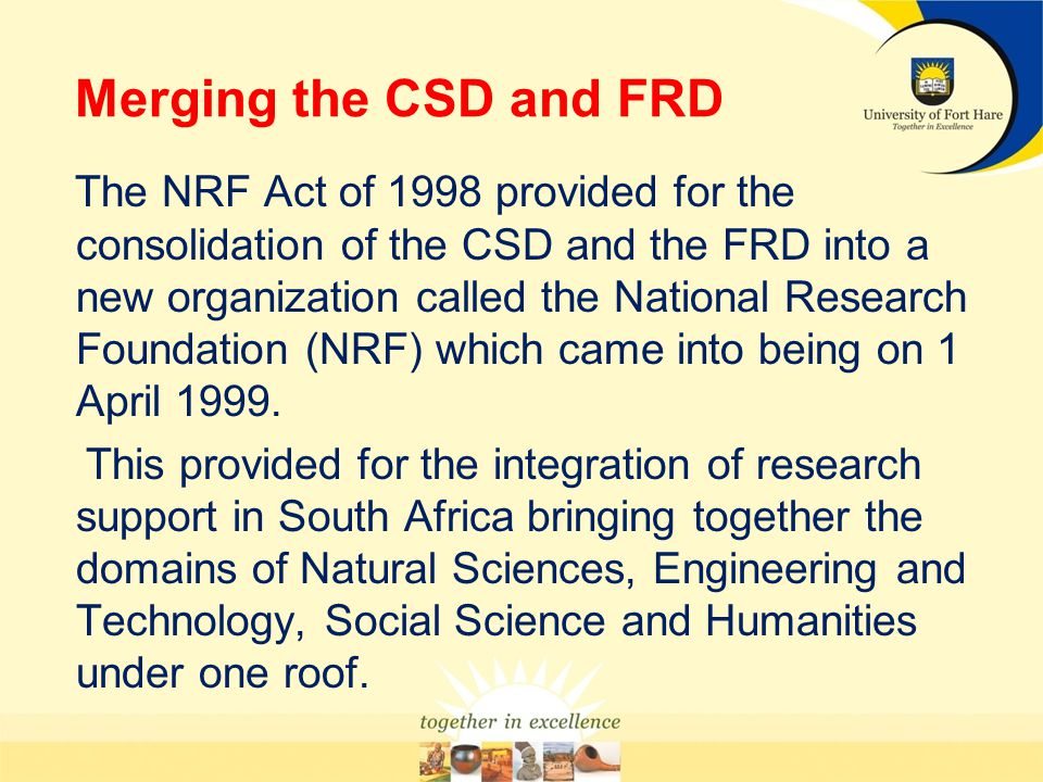 Merging the CSD and FRD