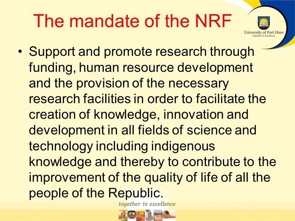 The mandate of the NRF