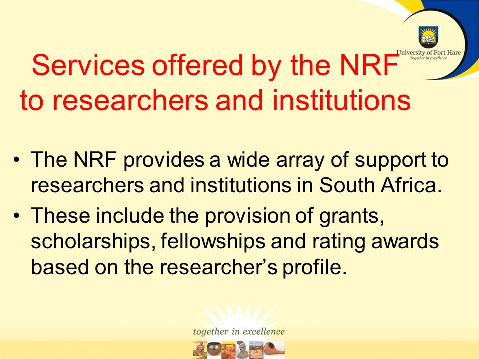 Services offered by the NRF to researchers and institutions