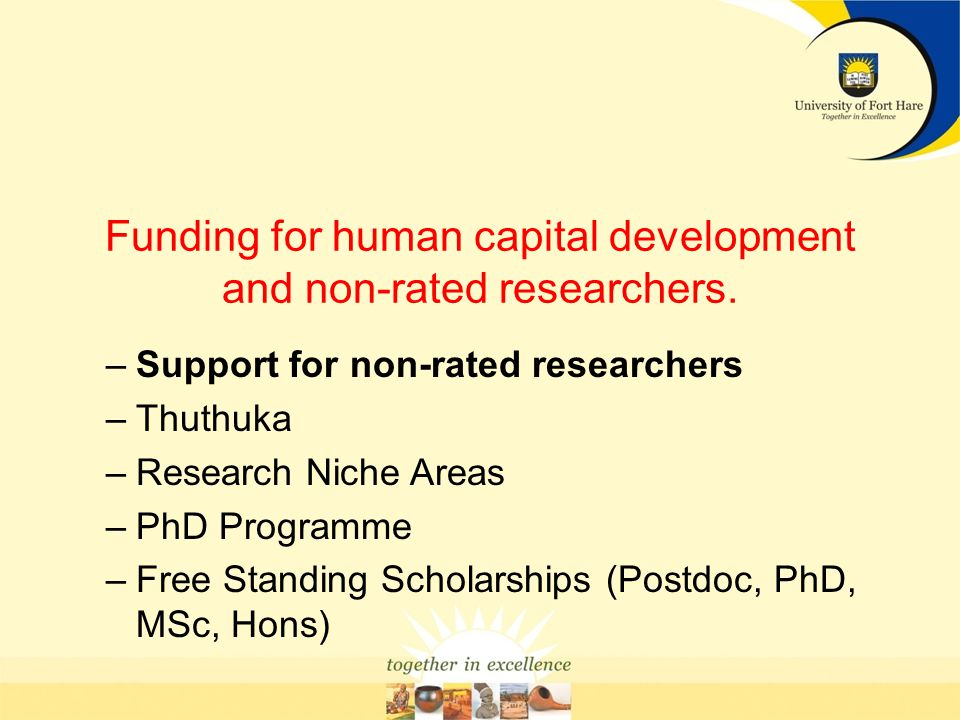 Funding for human capital development and non-rated researchers.