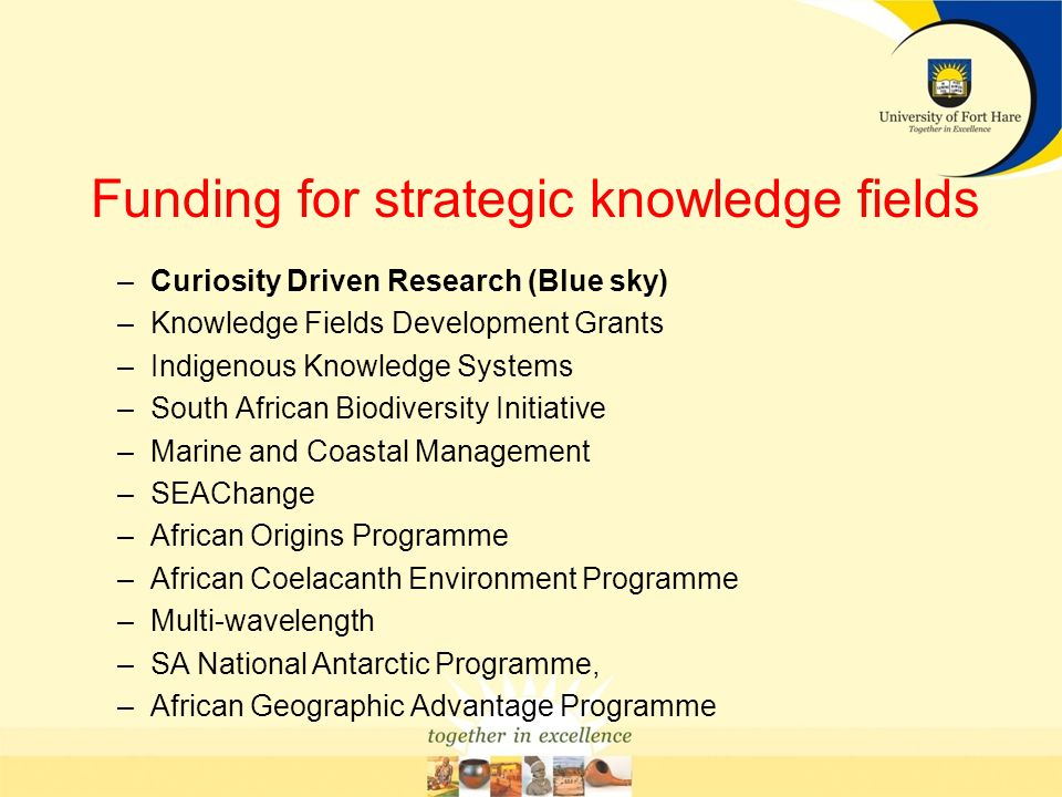Funding for strategic knowledge fields